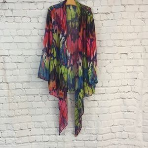 Chanult Vibrant Multi-Colored Sheer Cover Up